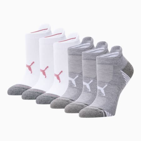 Women's Low Cut Socks [6 Pack], WHITE / PINK, small